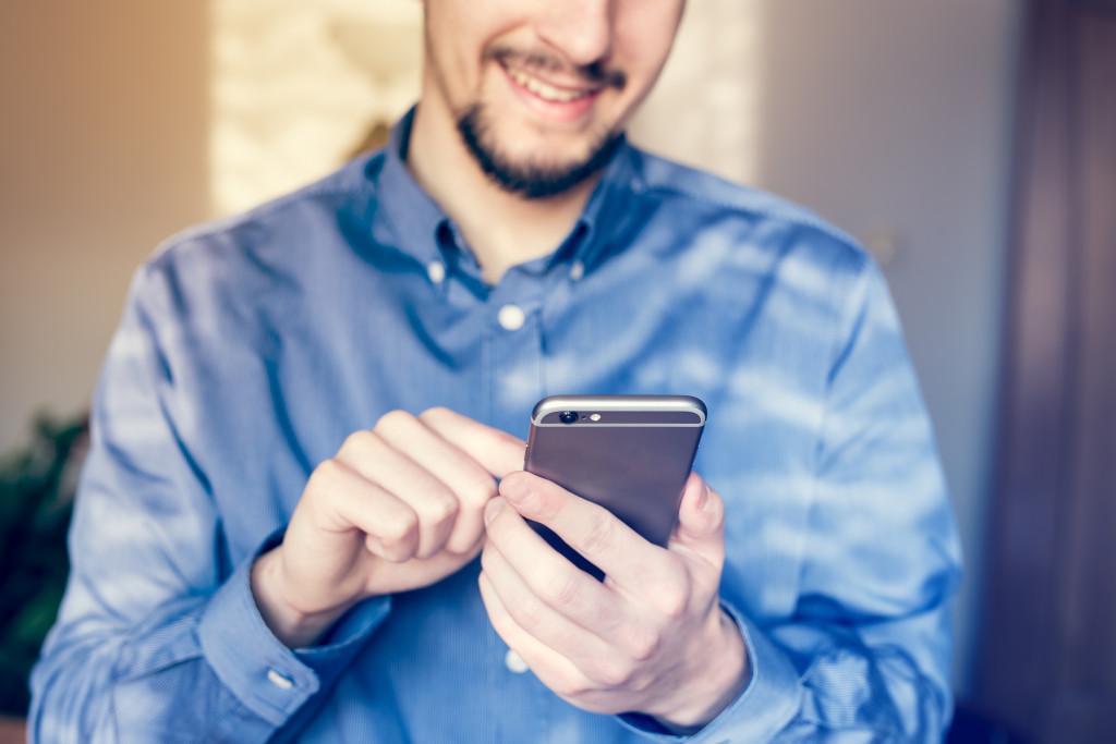 man using phone